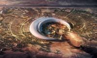 Félhold alakú mesterséges oázis a szaúdi sivatag közepén