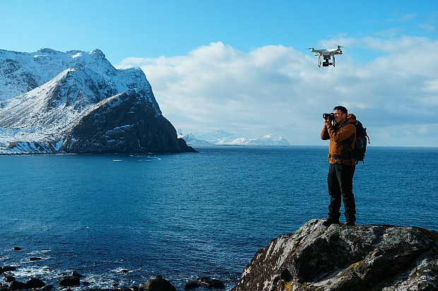 """The DJI Phantom Drone  hovers overhead as Chris captures a landscape photo"""