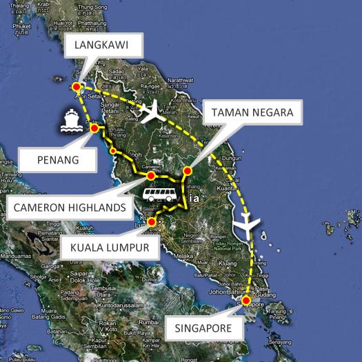 malajzia körút térkép